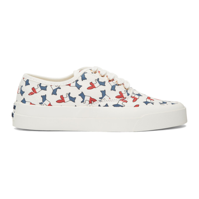 Maison Kitsune White Multicolor Print Fox Sneakers