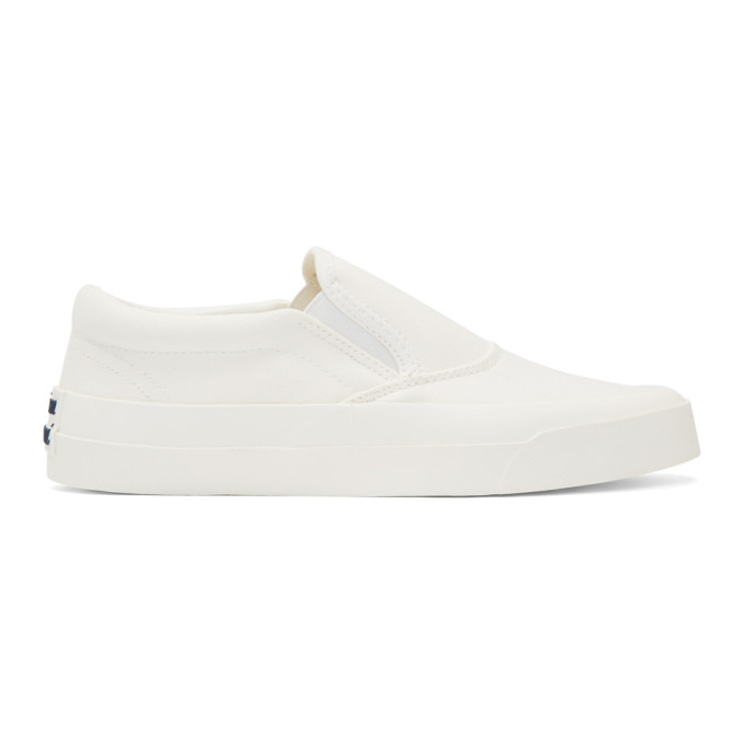 Maison Kitsune White Canvas Slip-On Sneakers