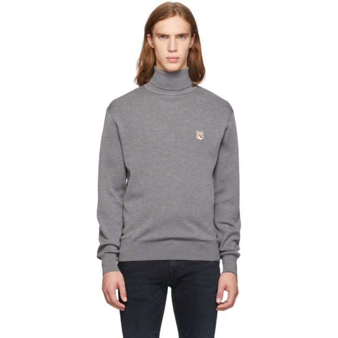 Maison Kitsune Grey Fox Head Turtleneck Sweater