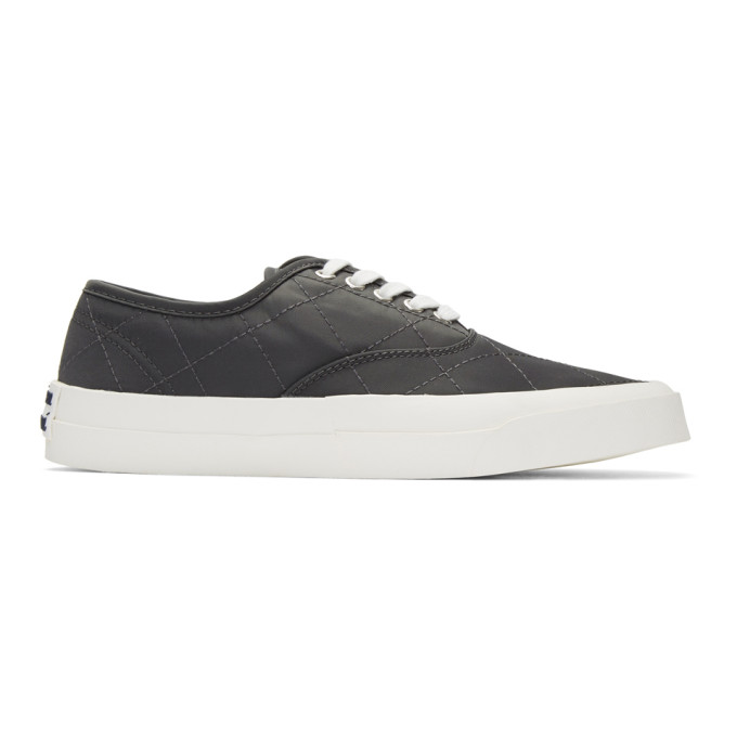 Maison Kitsune Grey Quilted Laced Sneakers