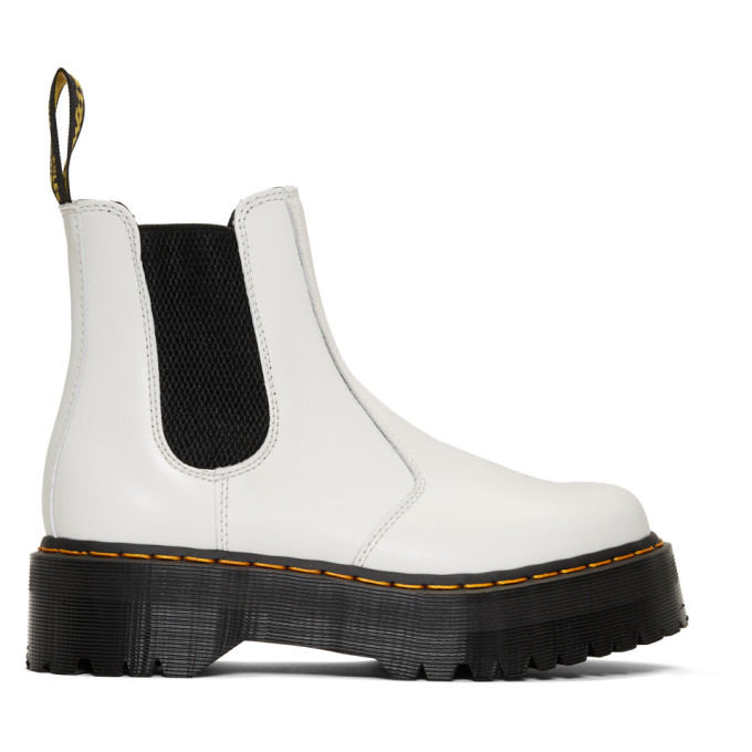 Dr. Martens White 2976 Quad Chelsea Boots