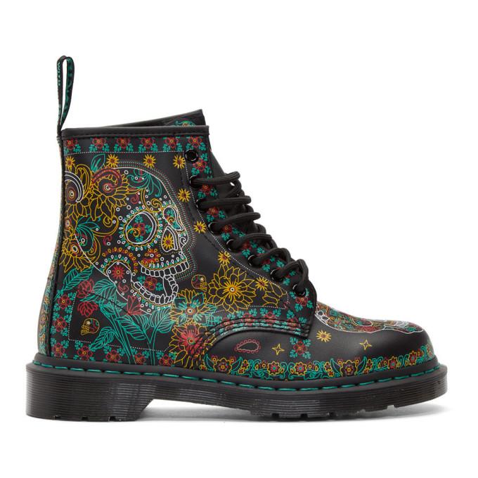 Dr. Martens Black Dia De Los Muertos 1460 Boots