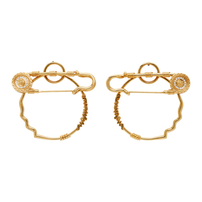 Versace Gold Medusa Safety Pin Hoop Earrings