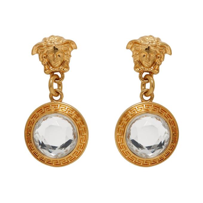 VERSACE | Versace Gold Crystal Medusa Drop Earrings | Goxip