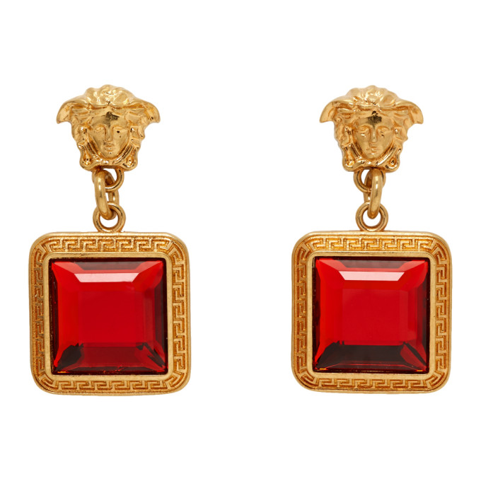 VERSACE | Versace Gold And Red Square Crystal Medusa Earrings | Goxip