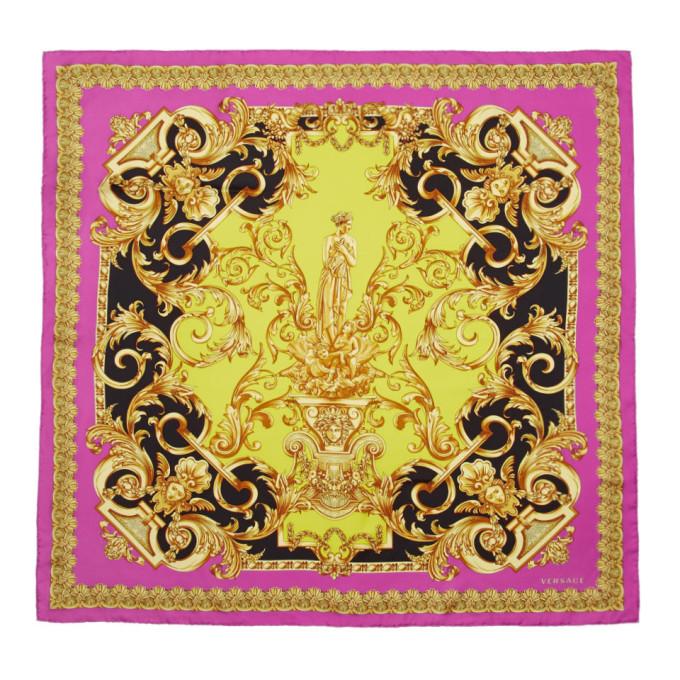 Versace Foulard en soie rose Barocco Print