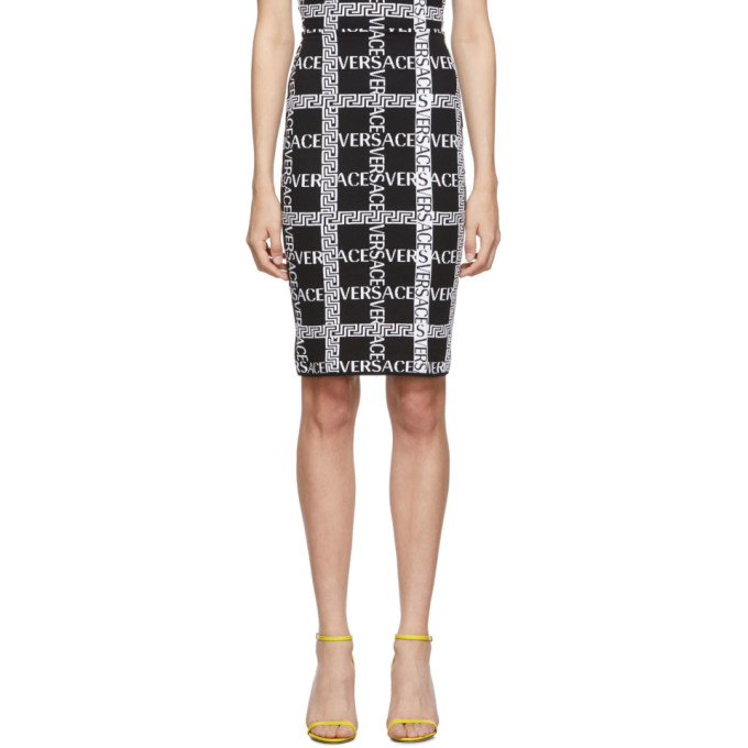 326141cbf3 Versace Black Logo Knit Skirt In A2024 Black | ModeSens