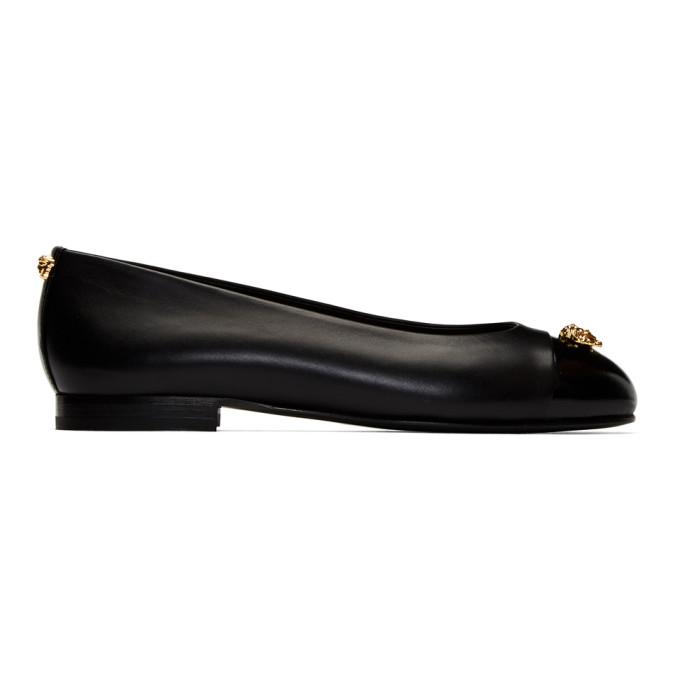 VERSACE | Versace Black Small Medusa Ballerina Flats | Goxip