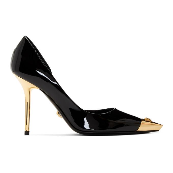 VERSACE | Versace Black Patent Medusa Cap Heels | Goxip