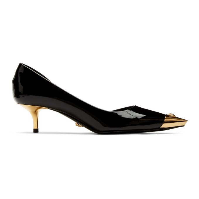 Versace Black Patent Medusa Cap Heels