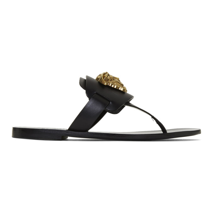 Versace Palazzo Leather Thong Sandals In K41T Black