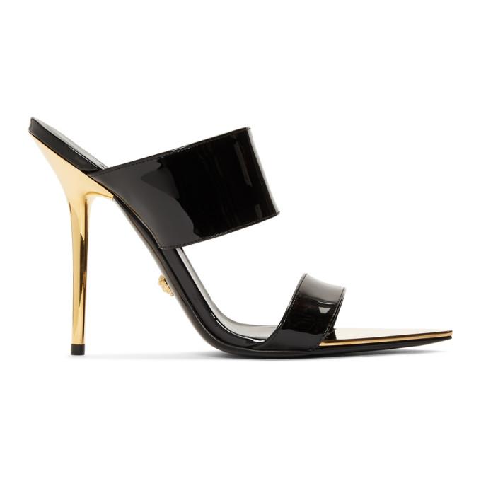 Versace Black Patent Gold Heel Heels