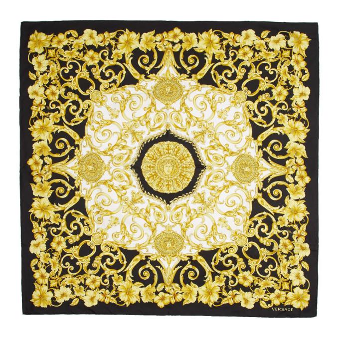 Versace Foulard noir et dore Hibiscus