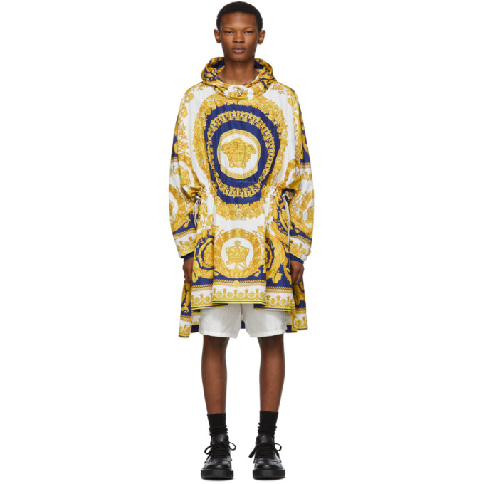 Versace 0 VERSACE WHITE AND BLUE BAROCCO PONCHO