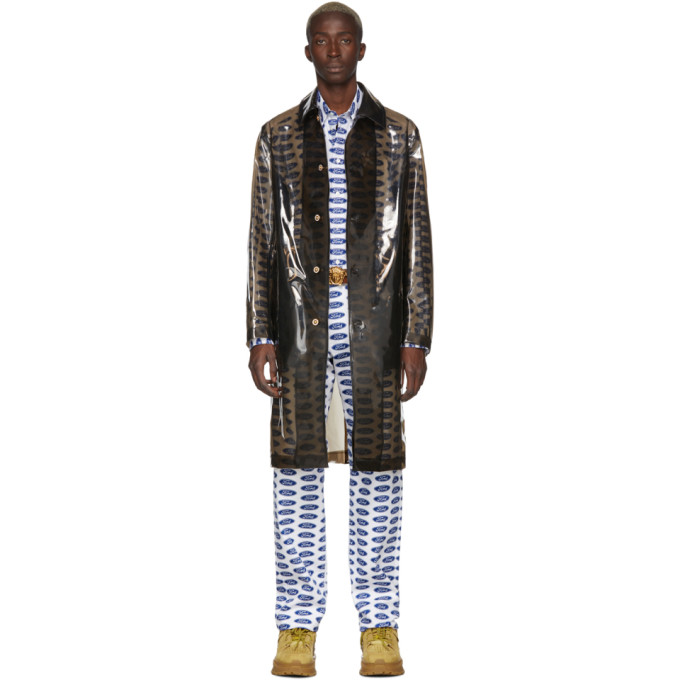 Versace トランスペアレント ブラック PVC トレンチ コート
