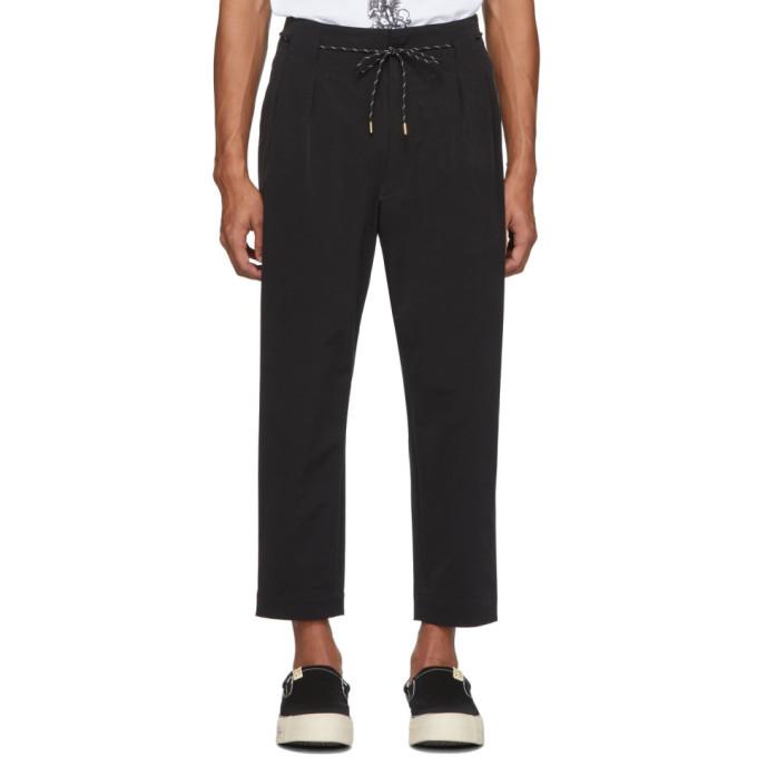 Sasquatchfabrix. Black Wool Tapered Trousers