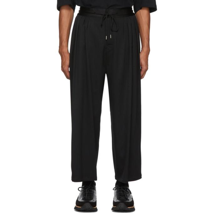 Sasquatchfabrix Pants SASQUATCHFABRIX. BLACK WOOL WIDE-LEG TROUSERS