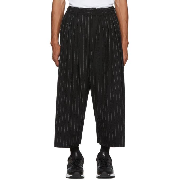 Sasquatchfabrix Pants SASQUATCHFABRIX. BLACK AND WHITE WOOL SILHOUETTE TROUSERS