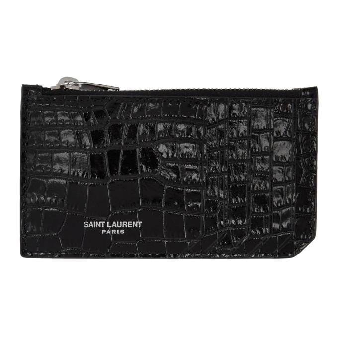 65d8eb07d44 Saint Laurent Black Croc Fragment Zipped Card Holder In 1000 Black ...