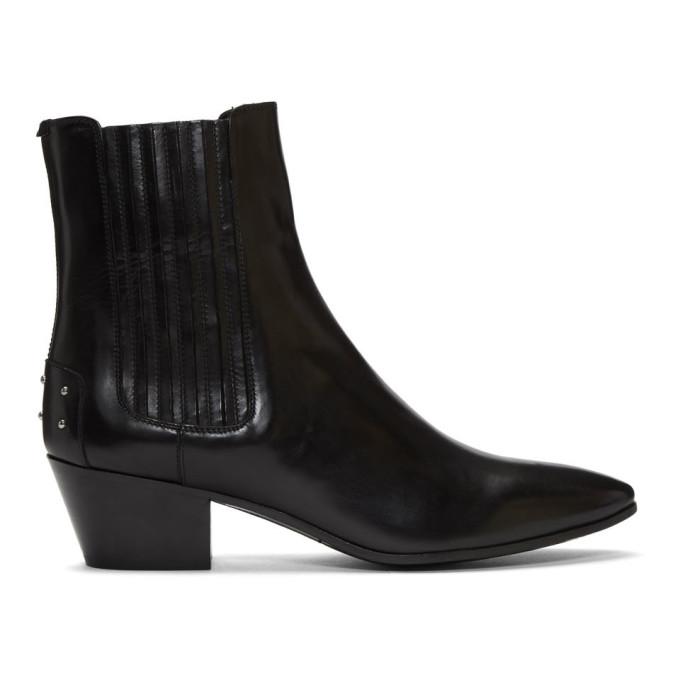 Saint Laurent Black Studded West Boots