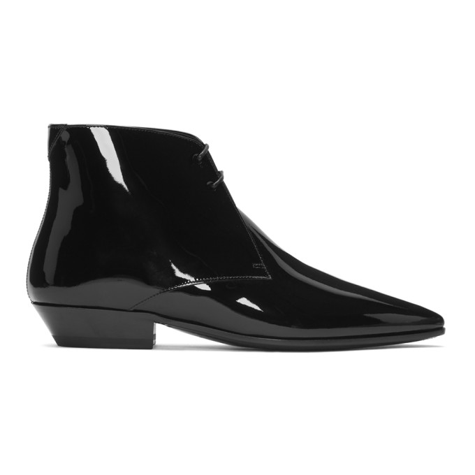 Saint Laurent Black Patent Jonas Boots