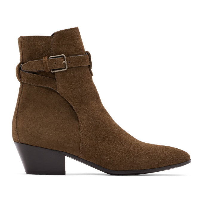 Saint Laurent Brown Suede West Jodhpur Boots