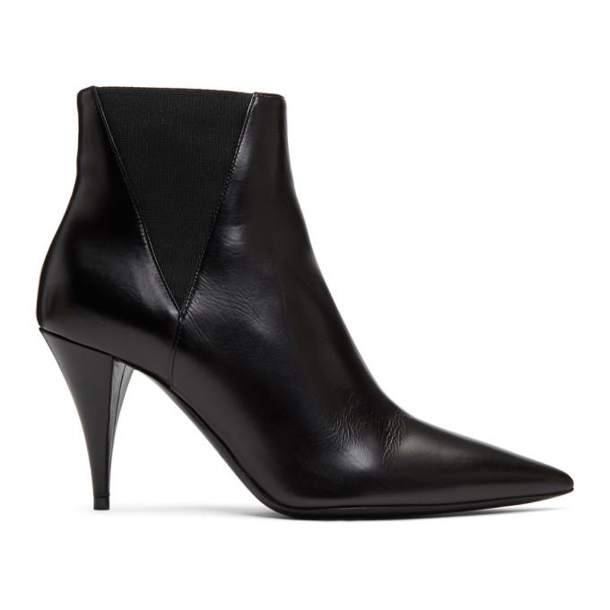 Saint Laurent Black Kiki Heeled Chelsea Boots