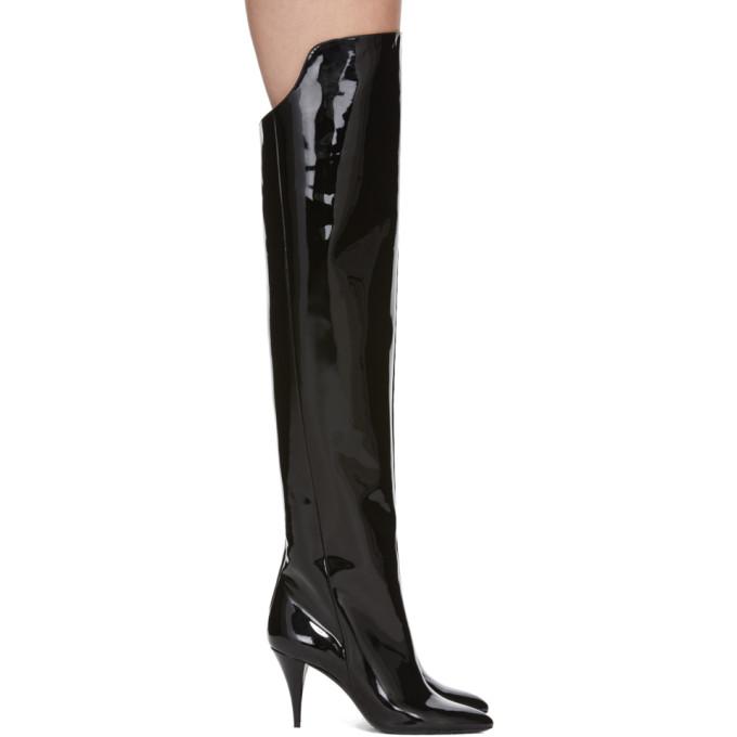 Saint Laurent Black Patent Kiki Boots
