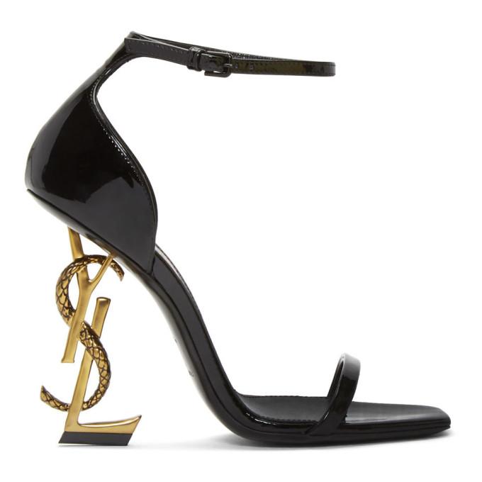 Saint Laurent Black Patent Opyum Strappy Sandals