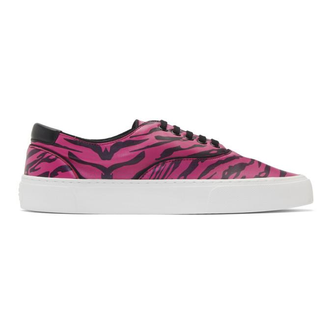 Saint Laurent Black and Pink Zebra Print Venice Sneakers