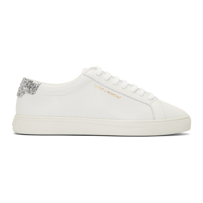 Saint Laurent White Perforated Andy Sneakers