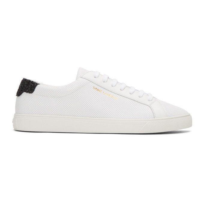 Saint Laurent White Glittered Andy Sneakers