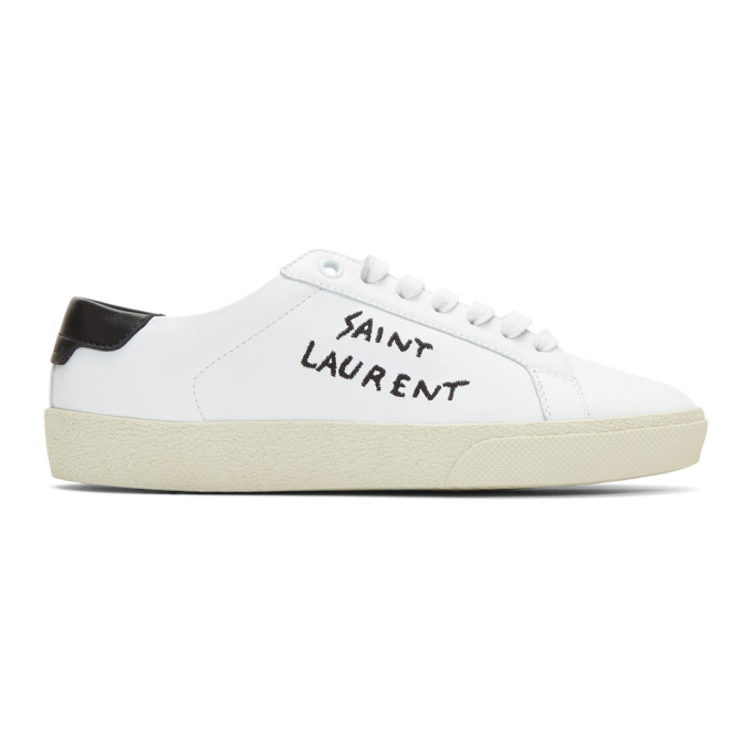 Saint Laurent Court Classic Brand-embroidered Leather Low-top Trainers In White