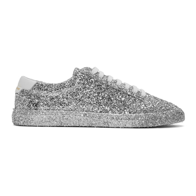 Saint Laurent Silver Glitter Andy Sneakers