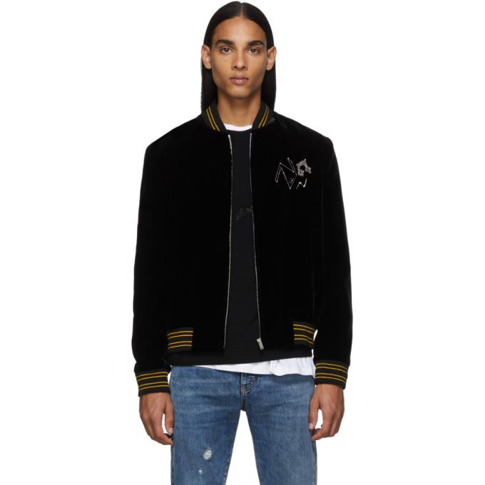 Saint Laurent Black Velvet Teddy Radio Bomber Jacket