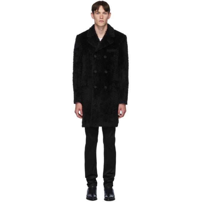 Saint Laurent Black Rive Gauche Double Breasted Coat