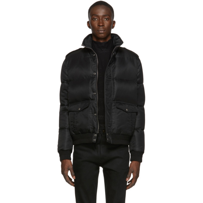 Saint Laurent Black Down Aviator Jacket