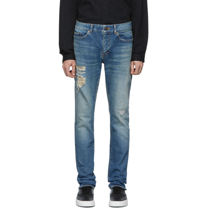 Saint Laurent Blue Distressed Skinny Jeans