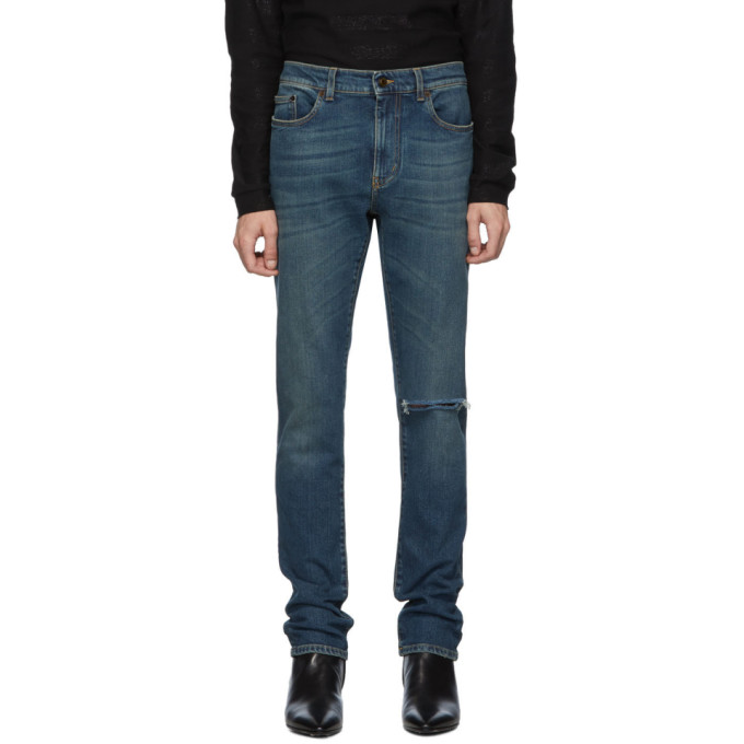 Saint Laurent Blue Vintage Skinny Low Waist Jeans