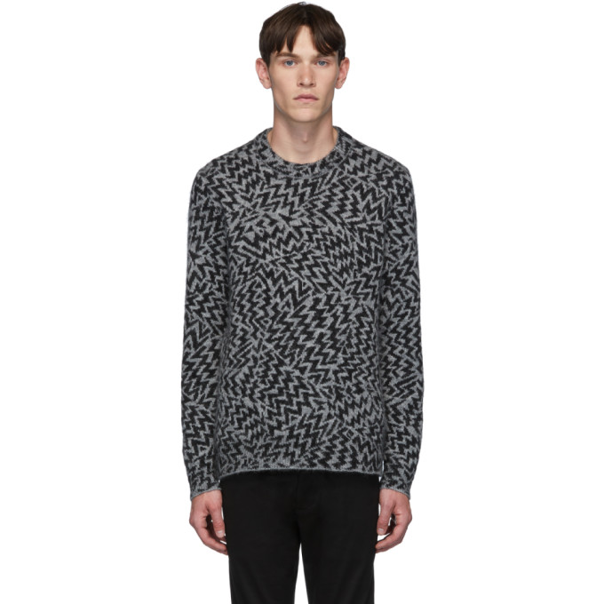 Saint Laurent Grey and Black Wool and Mohair Jacquard Comics Sweater