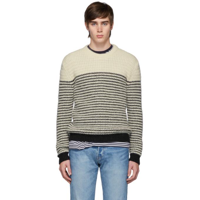 Saint Laurent Off-White & Black Stripes Crewneck Sweater In 9744 Nat/Black