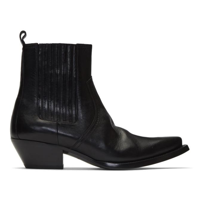 Saint Laurent Black Kangaroo-Look Lukas Chelsea Boots