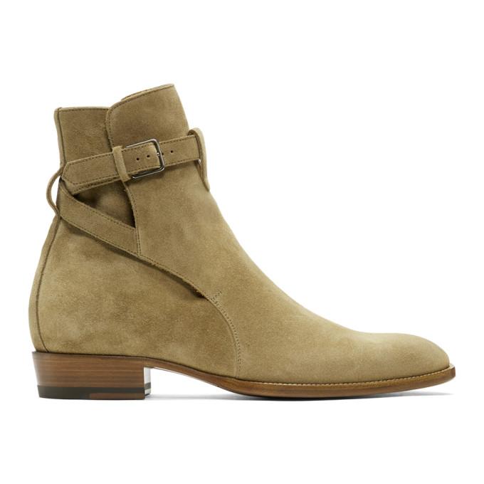 Saint Laurent Taupe Suede Wyatt Jodhpur Boots