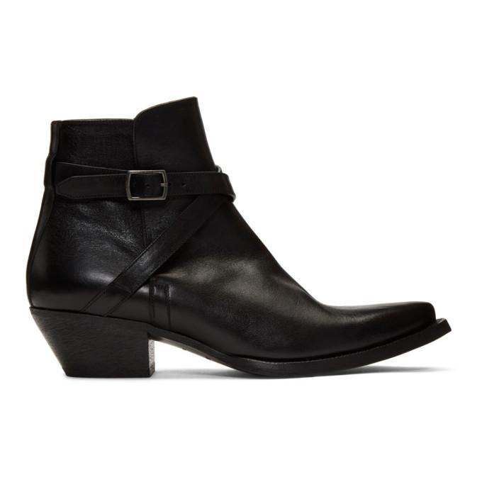Saint Laurent Black Buckle Lukas Boots