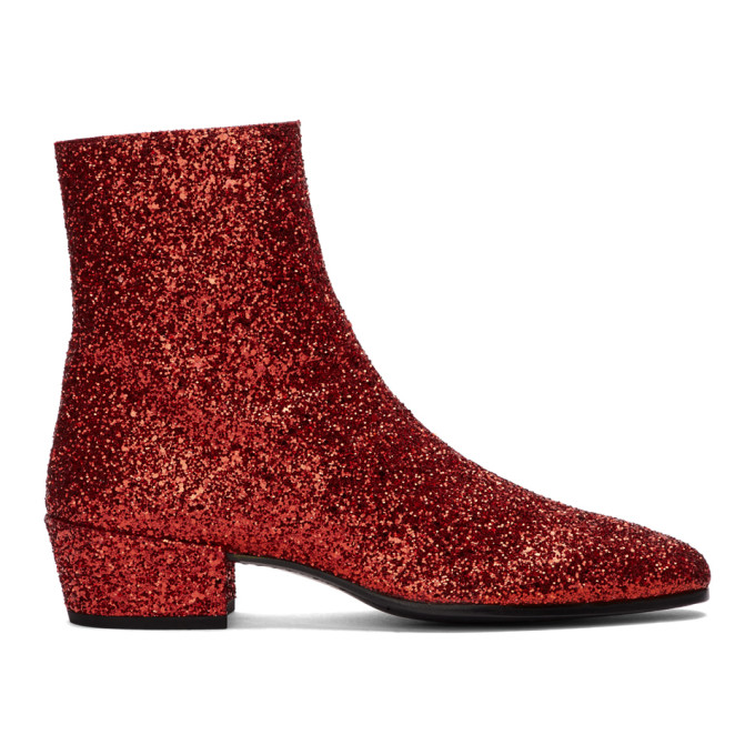 Saint Laurent Red Glitter Caleb Zippered Boots