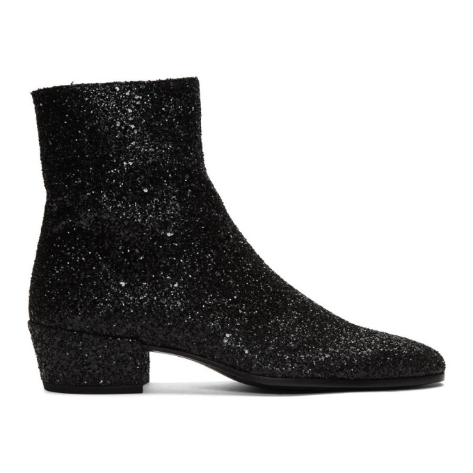 Saint Laurent Black Glitter Caleb Zippered Boots