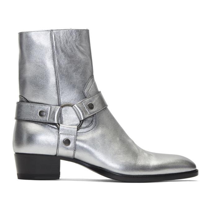 Saint Laurent Silver Wyatt Harness Boots