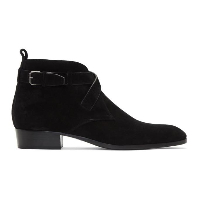 Saint Laurent Black Wyatt 30 Buckle Boots