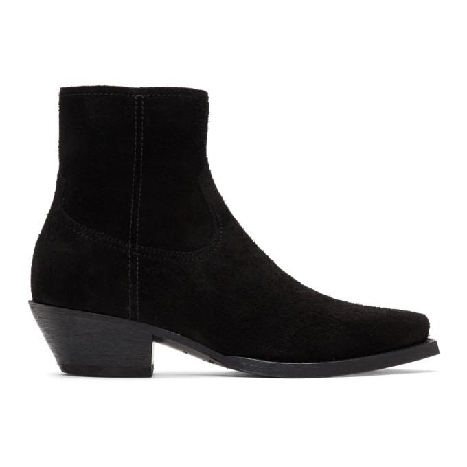 Saint Laurent Black Suede Lukas Zip Boots