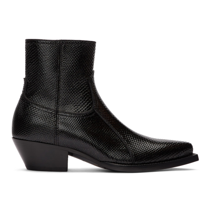 Saint Laurent Black Snake Lukas Boots